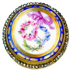 Button--Early 19th C. Hand Painted Porcelain 3 Wreaths with Teeny Cut Steels