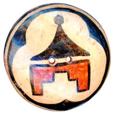 Button--Large Early 20th C. Zia Pueblo Pottery 2-hole Sew Through on Red Clay