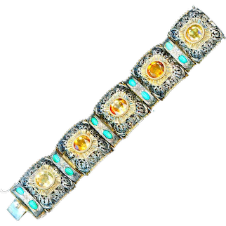 Bracelet--Late 19th  Austro-Hungarian C. Parcel-gilt Sterling Silver, Turquoise, and Citrine