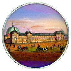 Button--Extra Large Late 19th C. Reverse Painted Glass with Pearl Louvre in Silver