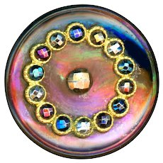 Button--Large Mid-19th C. Dyed Iridescent Pearl with Escutcheon of Multi-hued Cut Steels
