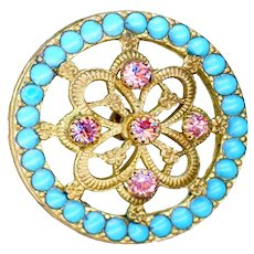 Button--Large Late 19th C. Enamel Pierreries and Pale Rose Pink Jewels