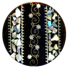 Button--Large Mid-19th C. Metal and Pearl Inlay Compressed Black Horn