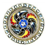 Button--Large Late 19th C. Triple Paisley in Champleve Enamel & Cut Steel