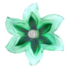 Button--Extra Large Polished and Satin Glass Realistic Flower Rosette Shank