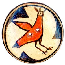 Button--Large Early 20th C. Zia Pueblo Pottery 2-hole Red Clay Bird