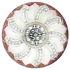 Button--Vintage Lacy Glass Silver Pinwheel with Orange Rim