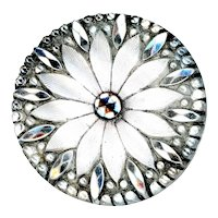 Button--Late 19th C. Silver Daisy Lacy Glass