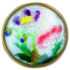 Button--Vintage Japanese Gin Bari Enamel Florals in Brass