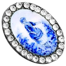 Button--Late 19th C. Oval Blue Monochrome Hand Painted Enamel Lady with Rhinestone Border