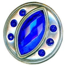 Button--Large Early 20th C. Pewter Finish Cobalt Glass Jewels