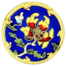 Button--Large Late 19th C. Art Nouveau Enamel Poppy