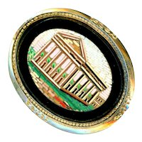 Brooch/Pendant--Large Late 19th C. Micromosaic  Ruin in 14 Karat Gold
