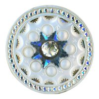 Button--Large 18th C. Georgian Carved Pearl with Immaculate Teeny Pastes & 8-point Steel Star