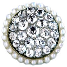 Button--Uncommon 18th C. Pave Paste in Pearl with Beaded Border