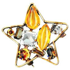 Brooch--Vintage Signed Schreiner NY Sparkly Star