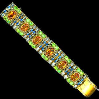 Bracelet--Gorgeous Hobe Jewels of Legendary Splendor Jeweled Link in Vermeil