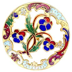 Button--Large 19th C. Open Work Enamel Pansies in Rococo Border