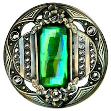 Button--Large Late 19th C. Gay Ninety Faux Emerald Glass Jewel in Cut Steels and Brass