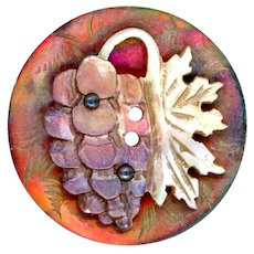 Button--Mid-19th C. Compound Pearl Carved Grapes on Red Abalone--Medium