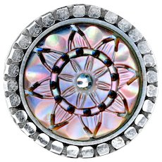 Button--Mid-19th C. Carved & Pierced Iridescent Pearl Rosette in Bright Steel Cup