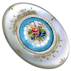 Button--Large 19th C. Oval Engraved White Pearl with Enamel Foil Medallion