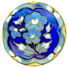 Button--Late 19th C. Blue on Blue Champleve Enamel Floral with Enamel Border
