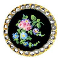 Button--Late 19th C. Hand Painted Enamel Flowers on Black in Cut Steels