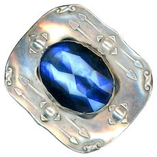 Brooch--Secessionist Motif Nickel Silver Sash Pin with Blue Glass