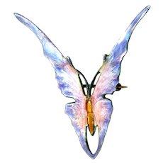 Brooch--Early 20th C. Art Nouveau Enamel on Sterling Silver Butterfly