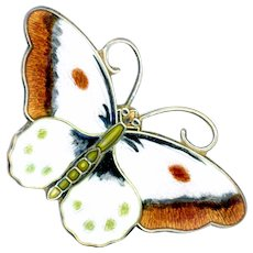Brooch--Early 20th C. Basse Taille & Hand Painted Enamel Butterfly by Hroar Prydz