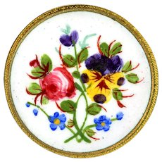Button--Very Fine Late 19th C. Hand Painted Enamel Flowers with Meaning