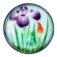 Button--Late 19th or Early 20th C. Japanese Gin Bari Enamel Irises