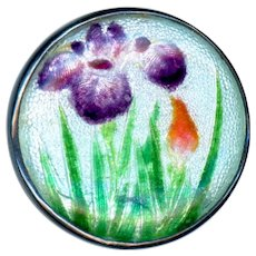 Button--Late 19th or Early 20th C. Japanese Gin Bari Enamel Irises