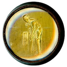 Button--1930s Embossed Foil Under Glass in Plastic Don Bradman at Cricket