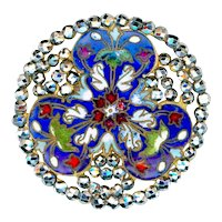 Button--Large Stunning 19th C. Champleve Enamel and Cut Steels