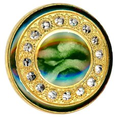 Button--Early 20th C. Green Marbled Design Under Glass in Brass
