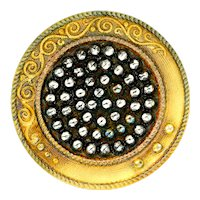 Button--Large Late 19th C. Crystal Lacy Glass with Yellow Background & Faux Cut Steels