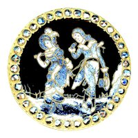 Button--Large Late 19th C. Champleve Enamel French Fops in Granite Spatter