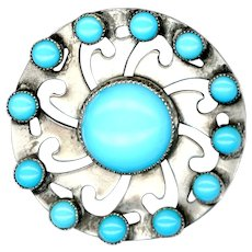 Button--Large Vintage Faux Native American Turquoise in Silver Jewel