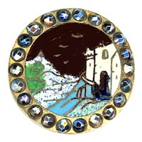 Button--Late 19th C. Champleve Enamel Ivory Tower Scene in Granite Spatter