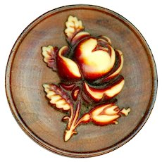 Button--Large Late 19th C. Celluloid Ivoroid Rose on Wood