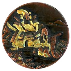 Button--Very Large Late 19th C. Japanese Mixed Metal Shakudo Figures Man and Woman
