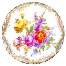 Button--Extra Large 19th C. Hand Painted Porcelain Flowers with Diaper Border