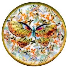 Button--Very Fine Late 19th C. Japanese Satsuma Thousand Butterflies