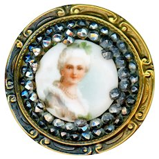 Button--Large Transfer Porcelain Lady in Cut Steels and Brass