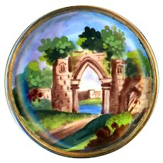 Button--Rare Mid-18th C. Bilston Hand Painted Enamel Pastoral Landscape on Copper