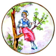 Button--Large Late 19th C. Limoges Enamel on Copper Country Girl in Tree