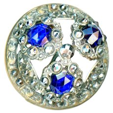 Button--Large 3-Stone Gay Ninety Jewel--Cobalt Glass & Cut Steels