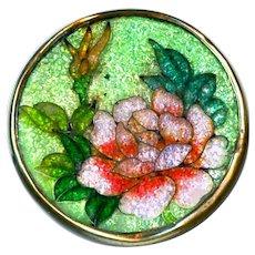Button--Late 19th C. Japanese Foil Enamel Cloisonne Peony in Brass--Medium